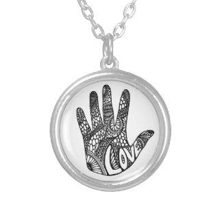 Love Doodle Round Pendant Necklace