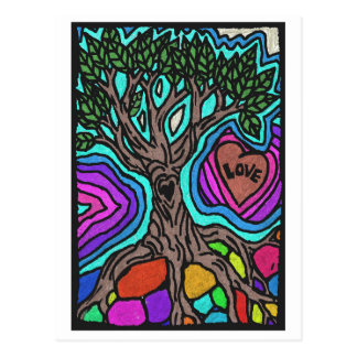 Love doodle tree postcard