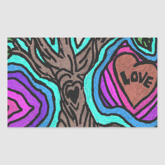 Love doodle tree rectangular sticker