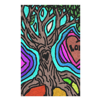 Love doodle tree stationery