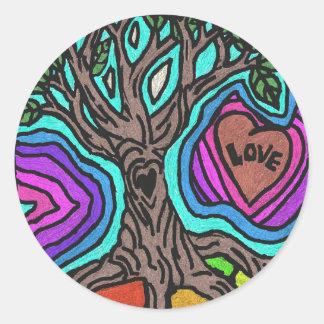 Love doodle tree round stickers