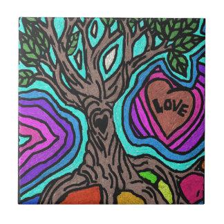 Love doodle tree ceramic tiles