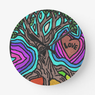 Love doodle tree wall clock
