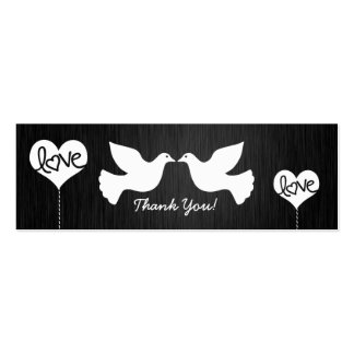 Love Doves black and white Tank You tags Business Card Template