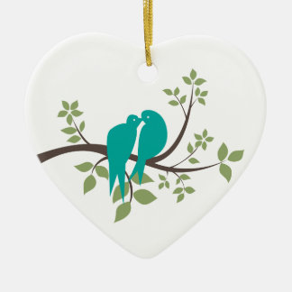 Love Doves Ceramic Heart Decoration
