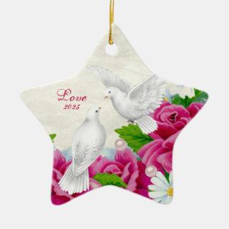 Love Doves + Flowers - Heart shaped Ornament