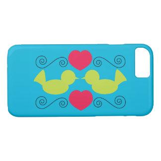 Love Doves Green Pink Hearts Swirls Blue iPhone 8/7 Case