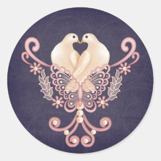 Love Doves Round Sticker