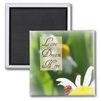 Love, Dream, Hope Ladybug Magnet