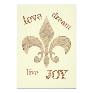 Love Dream Live JOY Fleur de lis sketch Card