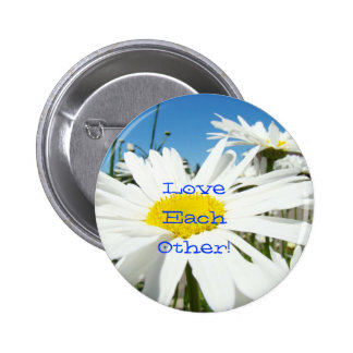 Love Each Other buttons White Daisies Blue Sky