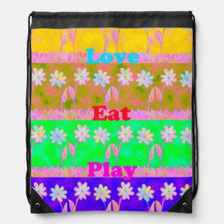 Love Eat Play Drawstring Backpack