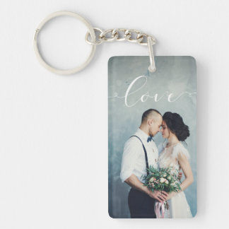 Love | Elegant Calligraphy with your Photo Key Ring