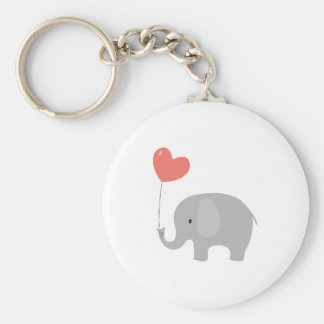Love Elephant Basic Round Button Key Ring