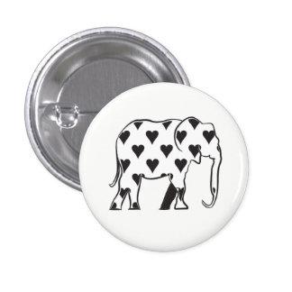 Love Elephant Cartoon Hearts Simple Black White 3 Cm Round Badge