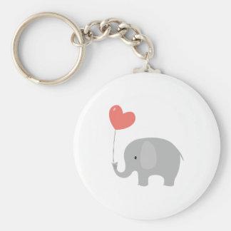 Love Elephant Basic Round Button Keychain