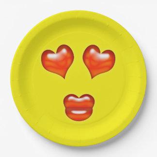 Love Emoji 9 Inch Paper Plate
