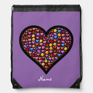 Love Emoji Customized Drawstring Bag