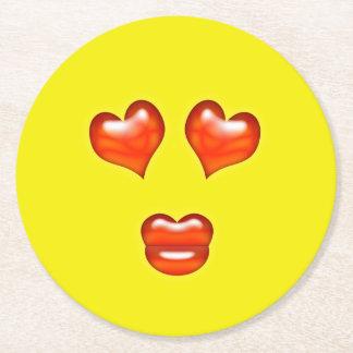 Love Emoji Round Paper Coaster