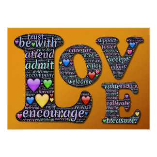 Love, Encourage, Accept, Adopt, Inspiration Poster