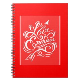 LOVE ENDURES SHOUTOUT RED WHITE SAYINGS EXPRESSION NOTE BOOKS