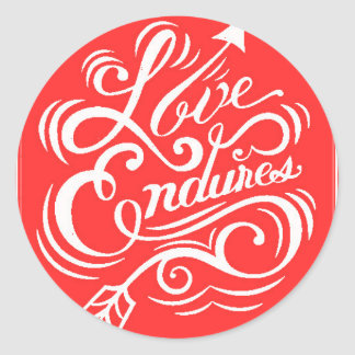 LOVE ENDURES SHOUTOUT RED WHITE SAYINGS EXPRESSION STICKER