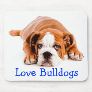 Love English Bulldog Brown & White Puppy Dog Mouse Pad
