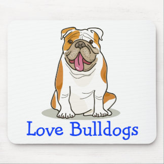 Love English Bulldog Cartoon Puppy Dog Mouse Pad