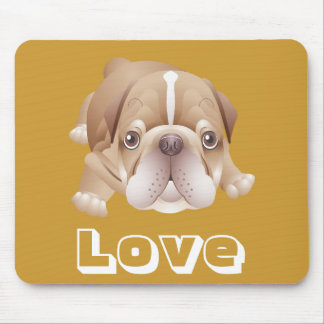 Love English Bulldog Puppy Dog Brown Mousepad