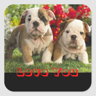 Love English Bulldog Puppy Dog Greeting Sticker