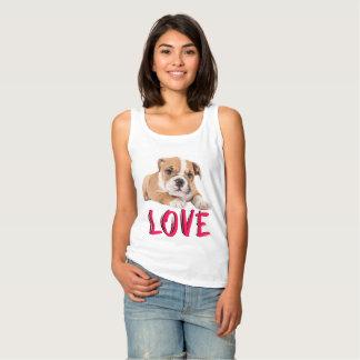 Love English Bulldog Puppy Dog Ladies Singlet