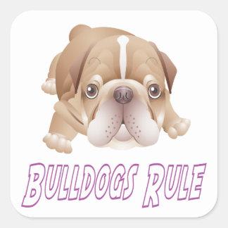 Love English Bulldog Puppy Dog Sticker / Seal Square Sticker