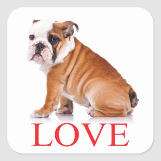 Love English Bulldog Puppy Dog Sticker / Seal