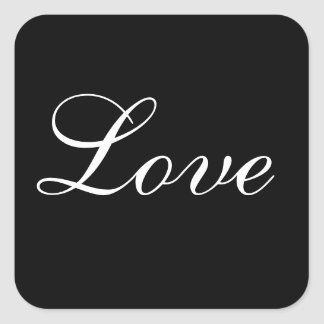 Love Envelope Seal In Black And White Square Sticker