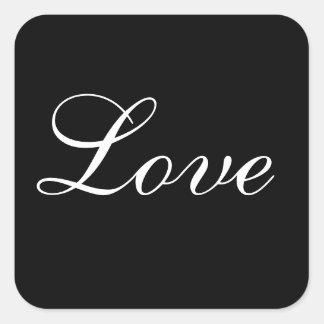 Love Envelope Seal In Black And White Square Sticker