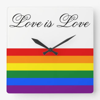 Love Equality Rainbow Flag LGBT Lesbian Gay Pride Square Wall Clock