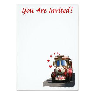 Love Express Train 13 Cm X 18 Cm Invitation Card