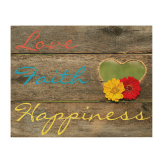 Love, Faith, Happiness with Heart on Wood Board Wood Wall Art