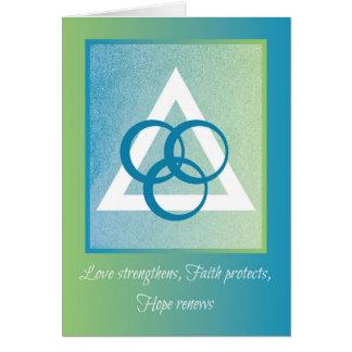 Love, Faith, Hope, Trinity Religious Encouragement Greeting Card
