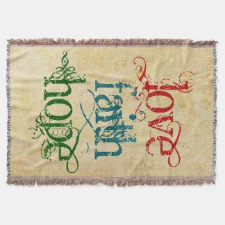LOVE FAITH HOPE + your background color Throw Blanket