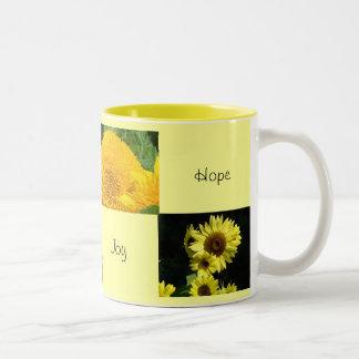 Love Faith Joy Hope Mugs Yellow Sunflowers