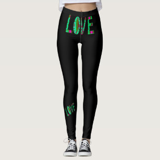 LOVE Fashion Leggings-Black/Aqua/Pink/Magenta Leggings