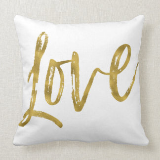 Love Faux Gold Foil Pillow