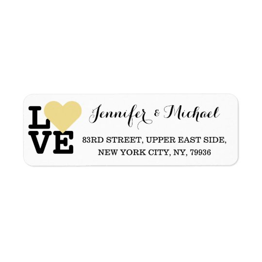 Love Faux Gold Heart Custom Wedding Valentines Day Return Address Label