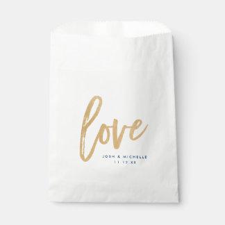 Love Favor Bag, Gold lettering, Wedding favor bag