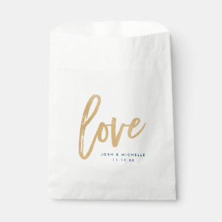 Love Favor Bag, Gold lettering, Wedding favor bag Favour Bags