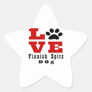 Love Finnish Spitz Dog Designes Star Sticker