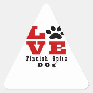 Love Finnish Spitz Dog Designes Triangle Sticker