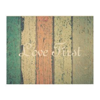 """Love First"" Romantic Shabby Planks Wall Art"