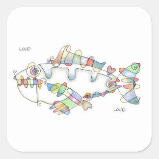love fish love square sticker